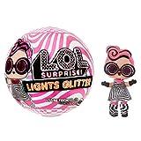 L.O.L. Surprise- Light Glitter Boule 8 Dont 1 poupée pailletée 8cm, phosphorescente, Lampe lumière Noir, Modèles aléatoires à Collectionner, Piles incluses, Jouet pour Enfants dès 3 Ans, LLUB4