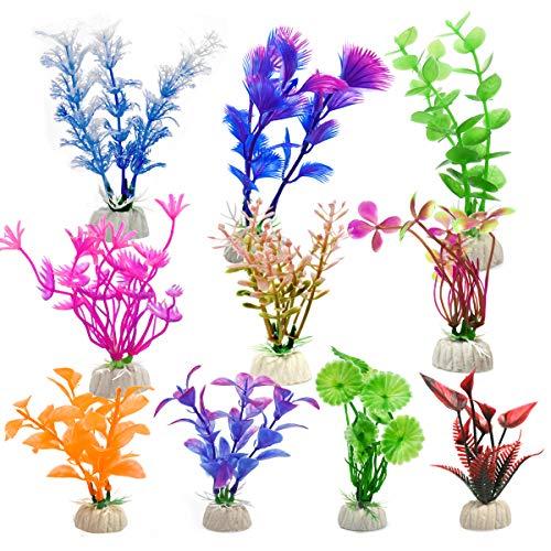WEONE Fische Tank Plastikpflanzen für Aquarien, 10 Stück Aquarien Pflanzen Künstlich Set, Aquarien Ornamente für Aquarium Dekor