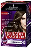 Schwarzkopf Keratin Color Permanent Hair Color Cream, 4.0 Cappuccino, 1 Count