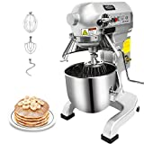 KITMA Commercial Food Mixer - 10 Quart 750W 3 Speed Heavy Duty Dough Mixer with Stainless Steel Bowl, Dough Hooks, Whisk, Beater, Safety Guard