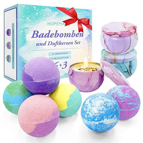 Bombe da Bagno e Candele Profumate Set Regalo, 6 Bath Bomb + 3 Fatto a Mano Candele dal Profumo, Sali da Bagno Rilassanti con Olio Essenziale, Idea Regalo di Natale/Compleanno/San Valentino