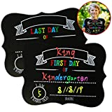 Aaskuu First and Last Day of School Chalkboard Sign, Reusable Blackboard for Kids Message Board 1st Day Back to School Photo Prop for Homecoming, Commemorate