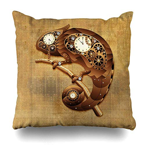 Mesllings Throw Pillow Cover Square 16x16 Inches New Steampunk Chameleon Vintage Style Decorative Pillow Case Home Decor Pillowcase