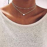 Jovono Collar con colgante de corazón en capas de plata con cuentas para mujeres y niñas,...