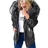 Chaqueta de invierno para mujer, de tejido vaquero sólido, con capucha, estilo...