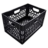 Jezero Heavy Duty Milk Crate for Multi-Purpose Use, Stackable Recyclable Plastic Bins for Storage, Black, Rectangle, 13' x 11' x 19' (MC-24)
