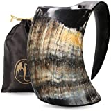 Viking Horn Mug - 100% Authentic 16oz - Ultimate Handmade Ox Horn Norse Mug for Hot & Cold Drinks with Gift Bag - Food Grade Medieval Style Man's Beer & Mead Cup