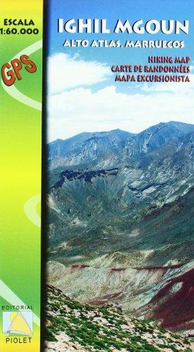 Ighil Mgoun, Alto Atlas, Marruecos. Escala 1:60.000. Mapa excursionista. Editorial Piolet.