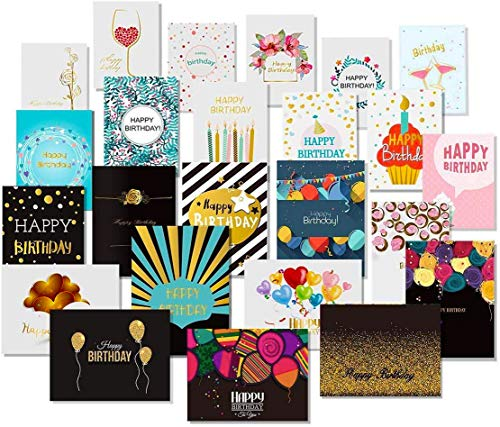 24 Happy Birthday Cards with Gold Embellishments Design and 26 Envelopes - Unomor Birthday Greeting Cards Assorted - New Upgrade