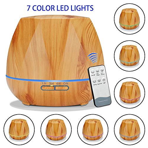 AMZ BCS Duftöl-Diffusor 500ML Ultraschall kühler Nebel Holzmaserung Luftbefeuchter mit 7 farbigen LED-Leuchten/Wasserloses automatisches Herunterfahren/3 Timer-Einstellung,B+RemoteControl