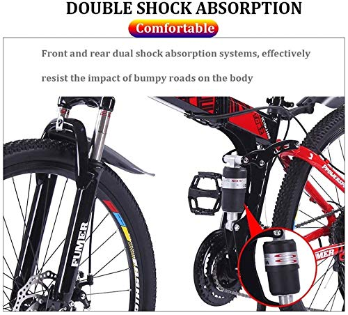 Product Image 4: Road Bikes Mountain Bikes for Adults,Foldable MTB Ebikes for Men Women Ladies, All Terrain 24/26inch Mountain Bike ,Small Space Storage Folding Bicycle Comfortable Seats (Color : Black Blue, Size :