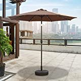 FCXBQ 2.7M Patio Umbrella Ourdoor Solar Umbrella LED Umbrellas, Tilt and Crank Table UV Protection Patio Umbrellas, for Garden, Pool,Brown