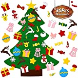 UMIKU Felt Christmas Tree for Toddlers Kids Wall Decorations 30pcs Ornaments DIY Christmas Tree for Toddlers Kids Xmas Gifts New Year Home Door Wall Hanging Decorations Christmas Décor, 39.4 Inches