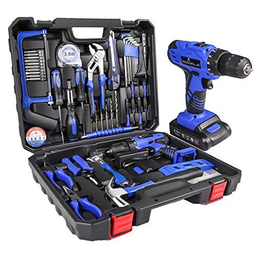 LETTON Kit di attrezzi con trapano avvitatore a batteria 21V, set di Attrezzi manuali per la casa per riparazioni a casa con custodia