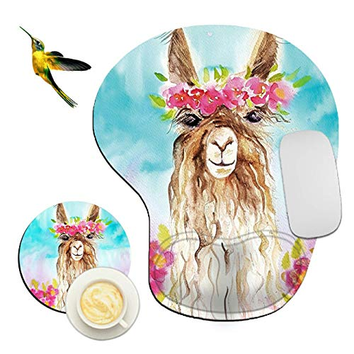 Mouse Pad with Wrist Support Rest,Rossy Llama Alpaca with Flowers Design Ergonomic Gaming Mousepad Non-Slip Rubber Base Wrist Cushion for Office Computer Laptop + Coasters and Cute Stickers