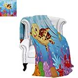 warmfamily Turtle Custom Design Cozy Flannel Blanket Funny Adorable Cartoon Style Underwater Sea Animals Baby Turtle and Fish Collection Weave Pattern Blanket 60'x36' Multicolor