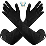 100% Kevlar Gloves with Sleeves by Dupont- Anti Scratch, Heat & Cut Resistant Sleeves Gloves, Safety Sleeves- Long Arm Protectors- Welding, Kitchen, Gardening, Pet Grooming & Bite Guard- Black, 1 Pair