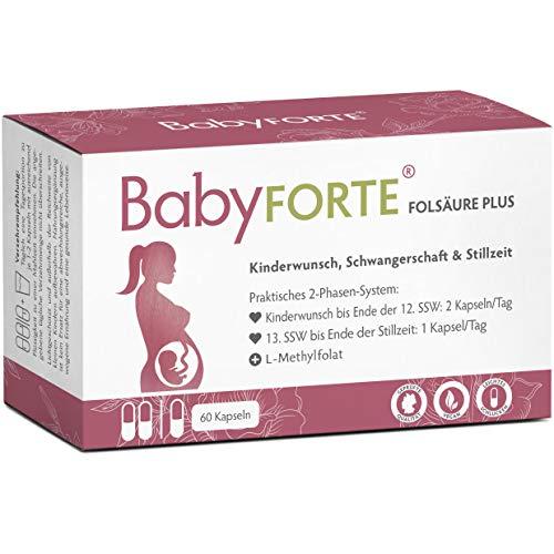 BabyFORTE® Folsäure Plus - Vegan - Vitamine Kinderwunsch & Schwangerschaft - 17 Nährstoffe - 60 Kapseln bis zu 2 Monate + Laborgeprüft