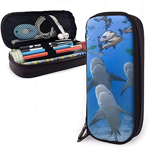 Astuccio per le matite in pelle PU Summer Beach Shark Diving, borsa per penna di grande capacit,...
