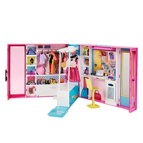Barbie Armadio dei Sogni Largo 60 cm, con 5 Abiti Diversi e +30 Accessori, Bambola non Inclusa, Giocattolo per Bambini 3+ Anni, GPM43