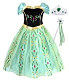 AmzBarley Princess Dress Girls Halloween Costume Fancy Dresses Birthday Party Outfit Holiday Cosplay Role Play Clothes Green with Accessories(Crown and Wand) Size 6(5-6Years)