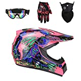 Tadyy Adult Motocross Helmet,Youth DOT Approved Girls Street Dirt Bike Motorcycle BMX MX ATV MTB Off Road Full Face Motorbike Racing Helmet for Men Women,Pink,XL
