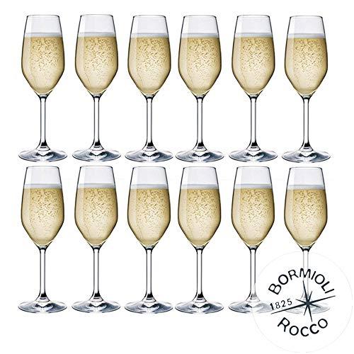 Collezione DIVINO Bormioli Rocco - Set 12 Flute da Champagne & Prosecco - MOD. Flute DIVINO 24 - capacità: cl. 24 Eleganza a Tavola