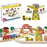 Circuit Train Enfant, Train en Bois avec Grue & Rails Pack(60 pcs), Compatible avec Brio, Thomas, Lidl et d'autres Marques Populaires, Jouets pour Enfants pour 3 4 5 6 Ans.