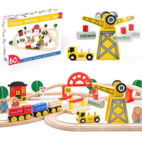 Crane Train Set- 60 Pcs Wooden Track & Exclusive Crane & Trains- Fits Thomas, Chuggington, Melissa- Gift Packed Toy Railway Kits- Kids Friendly Building Toy for 3+ Years Old Girls & Boys