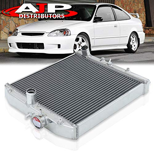 AJP Distributors Replacement Upgrade Racing Dual Core 2 Row Aluminum Radiator For Civic CRX Del Sol Manual Transmission M/T 1992 1993 1994 1995 1996 1997 1998 1999 2000 92 93 94 95 96 97 98 99 00