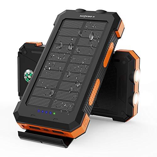 X-DRAGON Solar Power Bank 24000mAh Caricabatterie...