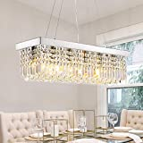 Siljoy Modern Rectangle Crystal Chandeliers Rectangular Pendant Ceiling Light Fixture for Kitchen Dining Room L31.5'x W10'x H10',Polished Chrome