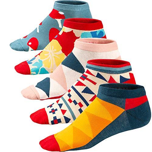 Ueither Calze da Uomo Coloratissimi in Cotone Stilisti Sportive Sneaker Calzini Corti Fantasia dal Design Comodo (39-46, Colore 1)
