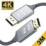 Snowkids CâbleDisplayPort vers HDMI -3m 4K UHD Adaptateur Display Port vers...