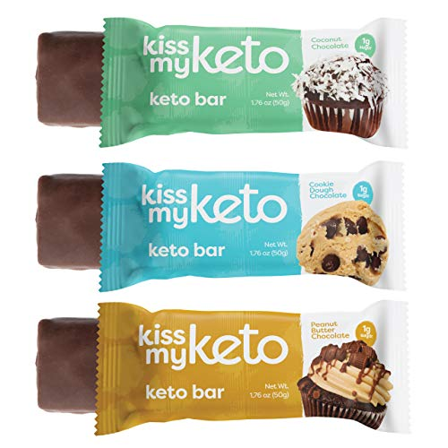 Kiss My Keto Bars - Low Carb (3g Net), Low Sugar Keto Snack Bars | Chocolate Variety Pack, 12 Pack | Rich in Ketogenic Fats & Protein 1