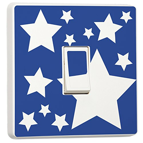 White Stars on Blue Kids Bedroom Light Switch Sticker Skin Cover Decal by wrapp it up
