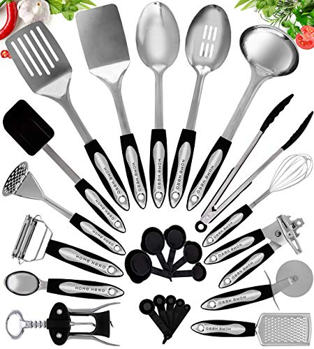 Product Image 1: Home Hero Stainless Steel Kitchen Cooking Utensils - 25 Piece Kitchen Utensil Set - <a href=