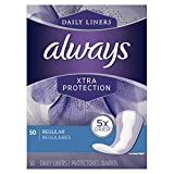 Always Xtra Protection Daily Feminine Panty Liners for Women, 300 Count, Regular, 50 Count - Pack of 6 (300 Total Count)