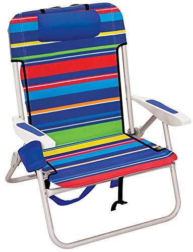 Rio Beach Big Boy Folding 13' High Seat Backpack Beach Or Camping Chair, 35 x 28' x 24, Pop Surf Stripes, Model:ASC537-1801-1