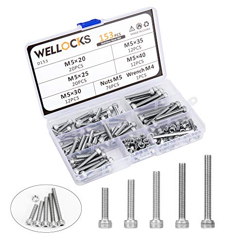WELLOCKS Socket Head Cap Screw M5 153 PCS Metric Bolts and Nuts Assortment Kit with Hex Wrench Stainless Steel 304 with Storage Box for for Shelf Chair Desk Install Repair(D153)