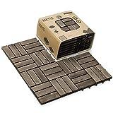 Hard Wood Interlocking Flooring Tiles (Pack of 10, 12' x 12'), Solid Wood Acacia Deck Tiles Interlocking, Patio Tiles Outdoor Interlocking Waterproof All Weather (12 Slat - Walnut)
