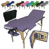 Linxor France Table de massage pliante 3 zones en bois avec panneau Reiki...