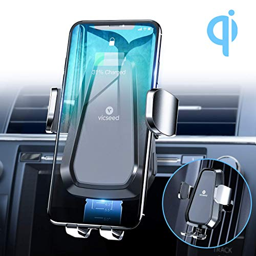 VICSEED Wireless Car Charger Mount, 3rd Generation 10W Qi Fast Charging Auto-Clamping CD Slot Air Vent Car Phone Holder for iPhone 11 Pro Max Xs Xr X 8 SE Samsung Galaxy Note 9 S10 S20, etc