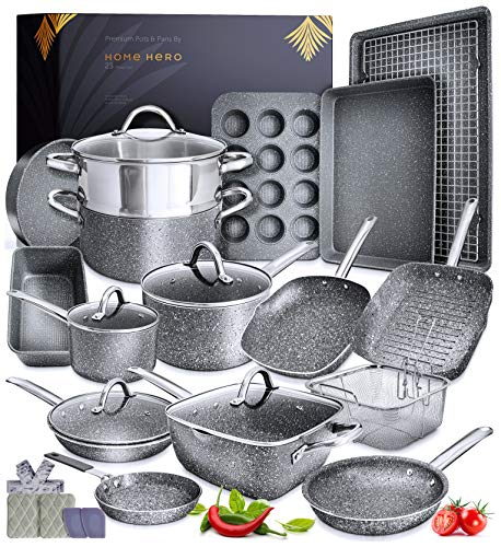 Granite Cookware Sets Nonstick Pots and Pans Set Nonstick - 23pc Kitchen Cookware Sets Induction Cookware Induction...