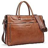 BOSTANTEN Leather Briefcase Vintage Business Message Bags 15.6 inch Laptop Shoulder Handbag for Women & Men Brown