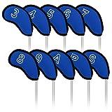 Craftsman Golf 10 pcs/Set Meshy Golf Iron Head Covers Set for Mizuno Callaway Adams (Blue)