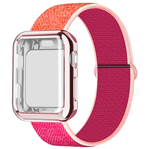 JuQBanke Compatible for Apple Watch Band 38mm 40mm 42mm 44mm iWatch Series 5 4 3 2 1 with Screen Protector Case, Sport Weave Strapwith Hook and Loop Fastener Replacement Wristband, Pomegranate
