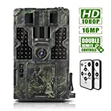 Trail Game Camera 16MP 1080P Waterproof Hunting Scouting Cam Wildlife Monitoring 130° Detection with 0.2s Trigger Speed 2.4' LCD IR LEDs IP55 Waterproof Design