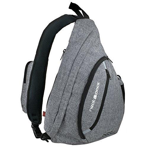 Versatile Canvas Sling Bag / Travel Backpack | Wear Over Shoulder or Crossbody (Gray)