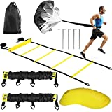 Buluri Fitness Agility Ladder & Sport Speed Training Set - 2 Agility Ladders,12 Disc Cones, 4 Metal...